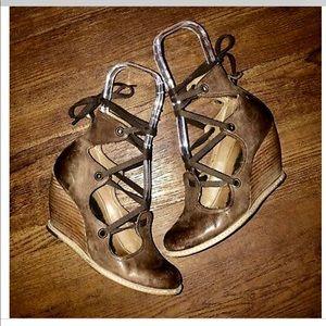 Anthropologie Schulder & Son Leather Wrap Wedges